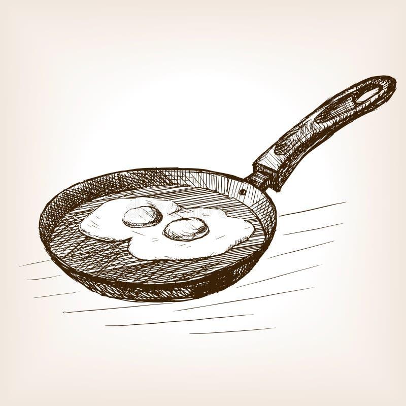Το τηγάνι με τα αυγά δίνει το συρμένο διάνυσμα ύφους σκίτσων διανυσματική απεικόνιση