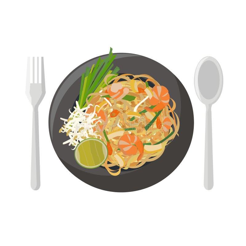 το τηγανισμένο noodles ρύζι μαξιλαριών ανακατώνει Ταϊλανδό διανυσματική απεικόνιση