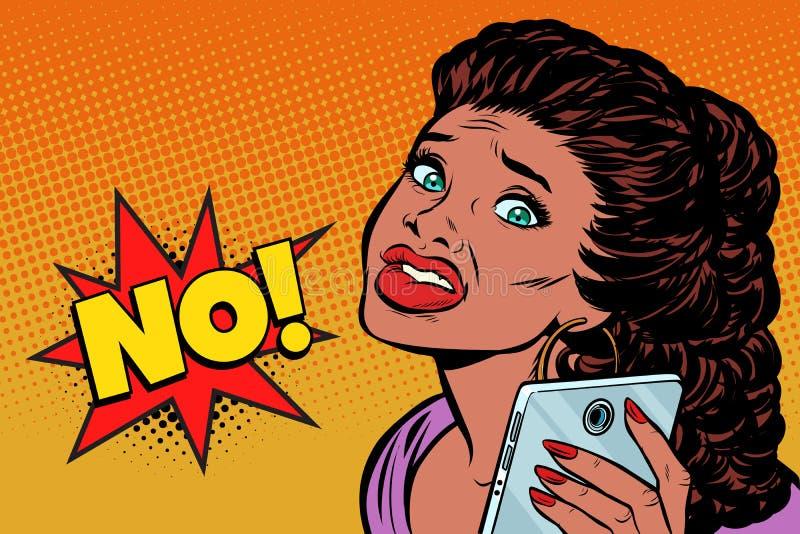 Το τηλέφωνο selfie η γυναίκα είναι φοβησμένο Άνθρωποι αφροαμερικάνων ελεύθερη απεικόνιση δικαιώματος
