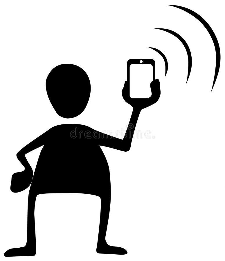 Το τηλεφωνικό σήμα στέλνει το σύμβολο σκιαγραφιών διανυσματική απεικόνιση