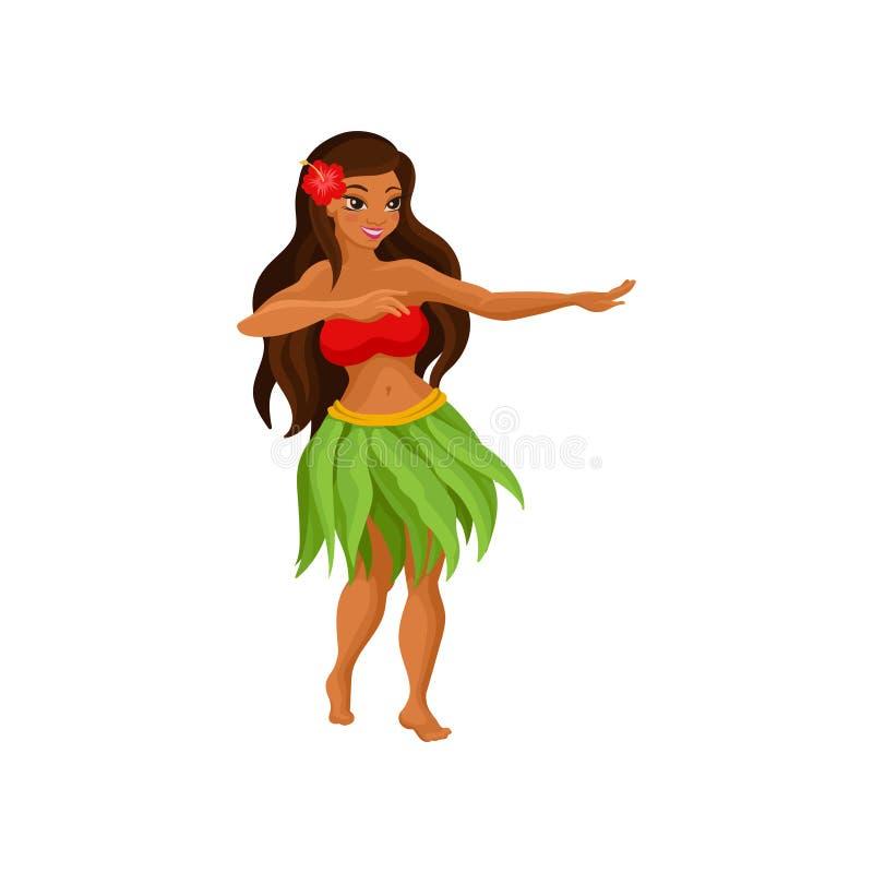 Το της Χαβάης κορίτσι στο χορό φουστών χλόης και hibiscus ανθίζουν στη διανυσματική απεικόνιση τρίχας της σε ένα άσπρο υπόβαθρο διανυσματική απεικόνιση