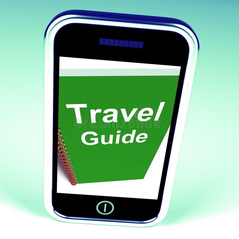 Το τηλέφωνο οδηγών ταξιδιού αντιπροσωπεύει τις συμβουλές για το ταξίδι διανυσματική απεικόνιση