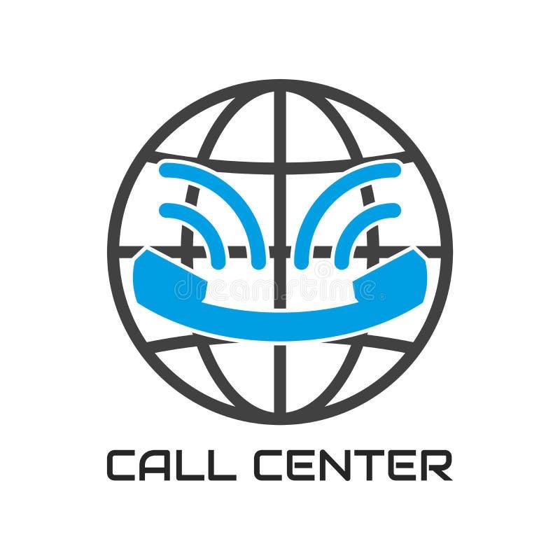 Το τηλεφωνικό κέντρο λογότυπων, μοιάζει με το χαμόγελο Τηλέφωνο επικοινωνίας υποστήριξης εικονιδίων διανυσματική απεικόνιση