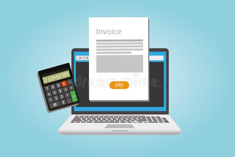 Το τιμολόγιο που τιμολογεί το υπηρεσία online πληρώνει διανυσματική απεικόνιση