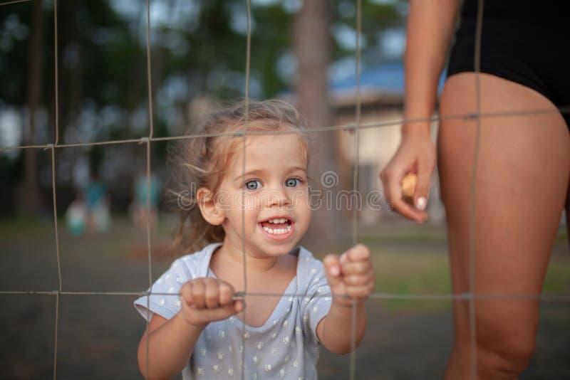 Το τονισμένο πορτρέτο του λυπημένου μικρού κοριτσιού κοιτάζει μέσω του φράκτη καλωδίων στοκ εικόνα