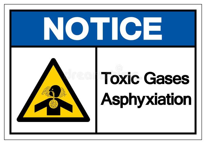 Το τοξικό σημάδι συμβόλων ασφυξίας αερίων ειδοποίησης, διανυσματική απεικόνιση, απομονώνει στην άσπρη ετικέτα υποβάθρου EPS10 ελεύθερη απεικόνιση δικαιώματος