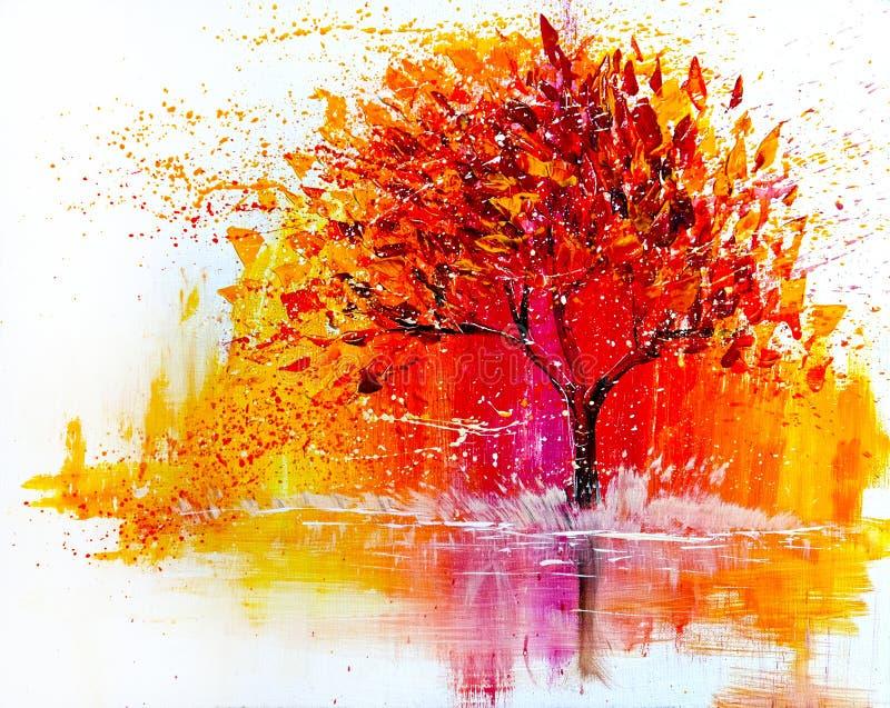 Το τοπίο ελαιογραφίας, αφαιρεί το ζωηρόχρωμο χρυσό δέντρο ελεύθερη απεικόνιση δικαιώματος