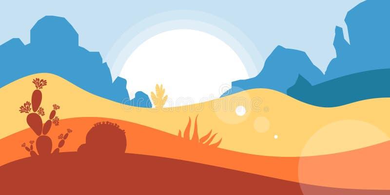 Το τοπίο της αμερικανικής ερήμου με τα βουνά και τα φαράγγια, κάκτοι και succulents Συντήρηση του περιβάλλοντος, οικολογία, τ διανυσματική απεικόνιση