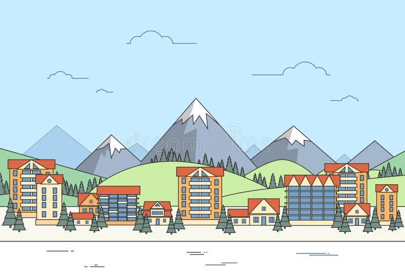 Το τοπίο του χωριού χειμώνα στεγάζει το βουνό πόλεων απεικόνιση αποθεμάτων
