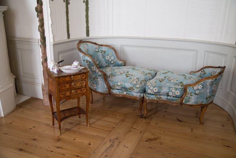 Το τουαλέτα-δωμάτιο Duchess' στο παλάτι Rundale, Λετονία στοκ εικόνες