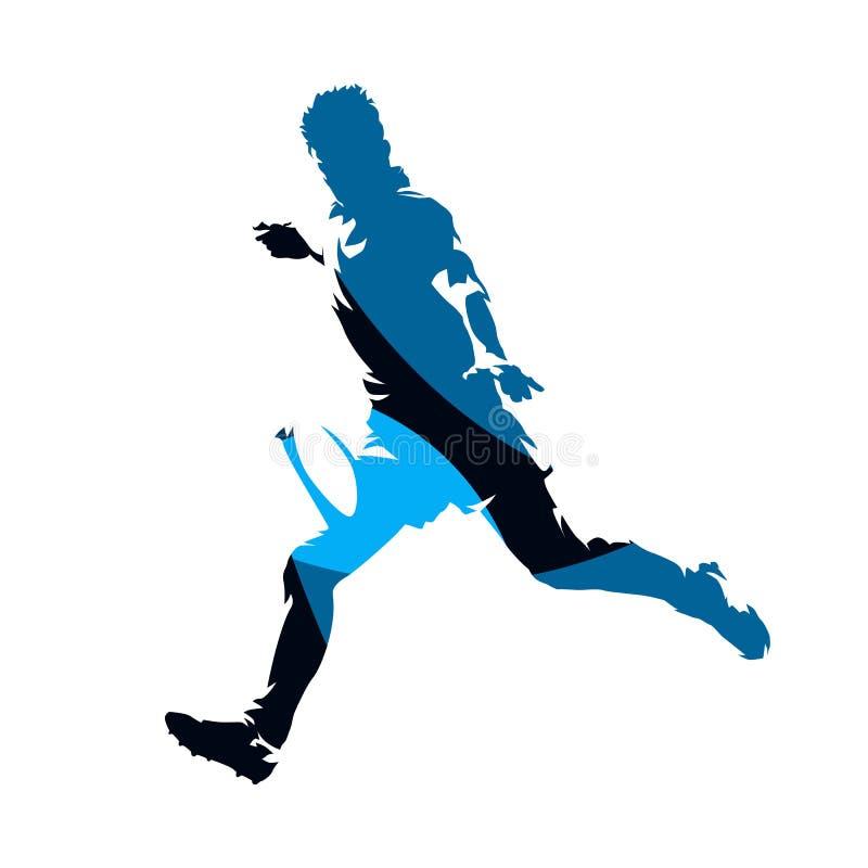 Το τρέξιμο φορέων ράγκμπι με τη σφαίρα, αφαιρεί το μπλε γεωμετρικό διανυσματικό s απεικόνιση αποθεμάτων