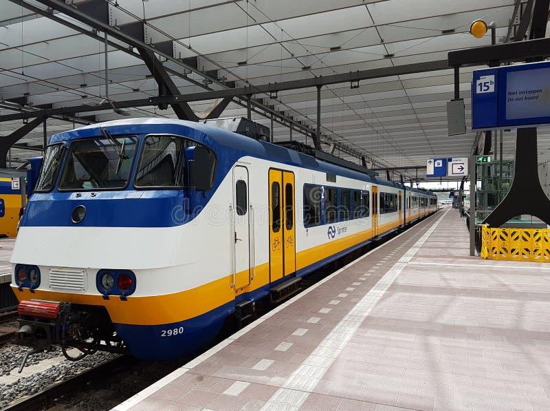 Το τραίνο του NS, ολλανδικοί σιδηρόδρομοι, sprinter φθάνει κατά μήκος της πλατφόρμας στον κεντρικό σταθμό του Ρότερνταμ, οι Κάτω  στοκ φωτογραφία με δικαίωμα ελεύθερης χρήσης