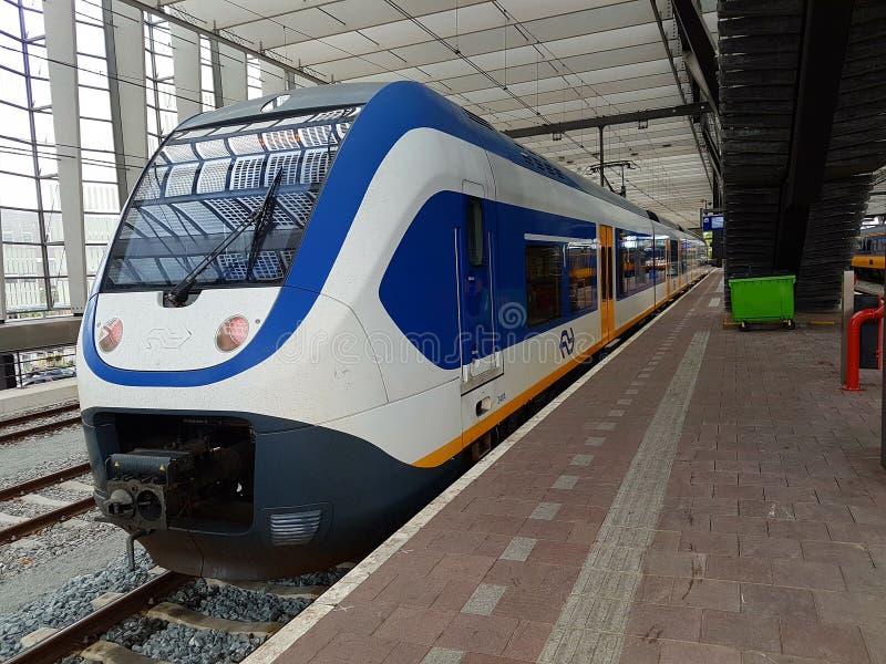Το τραίνο του NS, ολλανδικοί σιδηρόδρομοι, sprinter φθάνει κατά μήκος της πλατφόρμας στον κεντρικό σταθμό του Ρότερνταμ, οι Κάτω  στοκ εικόνες