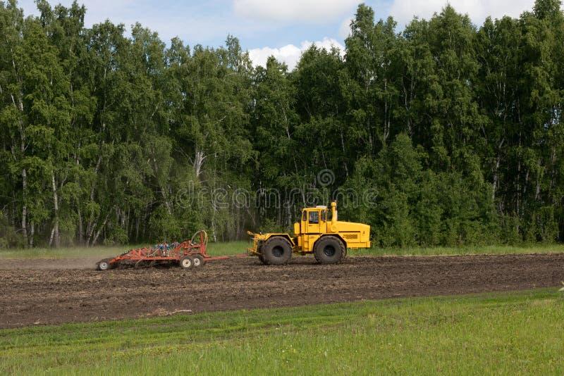 Το τρακτέρ οργώνει έναν τομέα, βωλοκόποι, καλλιεργεί το χώμα για τη σπορά Η έννοια της γεωργίας και των γεωργικών μηχανημάτων στοκ εικόνα με δικαίωμα ελεύθερης χρήσης