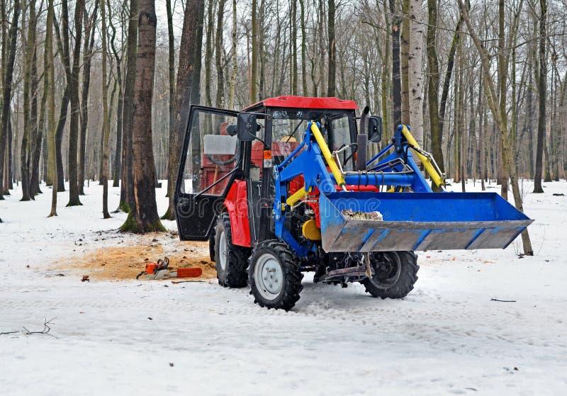 Το τρακτέρ στο ξύλο το χειμώνα στοκ εικόνες