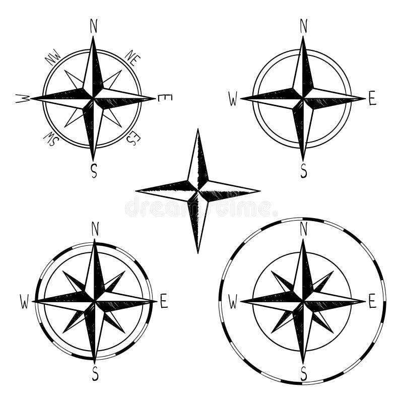 Το τριαντάφυλλο πυξίδων των ανέμων χαρτογραφεί το γραφικό χρωματισμένο χέρι σύνολο, βόρειο σημάδι ντεκόρ πειρατών θάλασσας, διανυ απεικόνιση αποθεμάτων