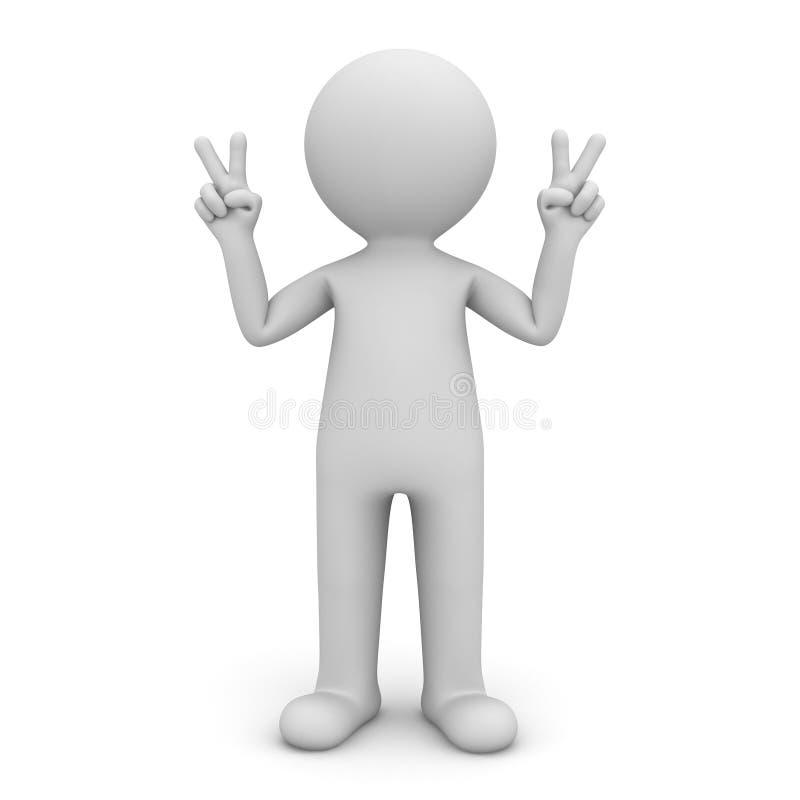 το τρισδιάστατο άτομο που στέκεται και που παρουσιάζει χέρια νίκης υπογράφει τη χειρονομία που απομονώνεται πέρα από το άσπρο υπό διανυσματική απεικόνιση
