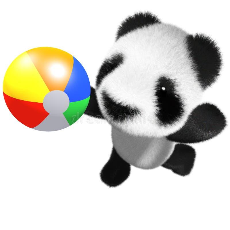 το τρισδιάστατο αστείο panda μωρών κινούμενων σχεδίων αντέχει το παιχνίδι χαρακτήρα με μια σφαίρα παραλιών διανυσματική απεικόνιση