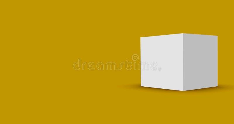το τρισδιάστατο κιβώτιο κύβων δίνει στο απομονωμένο υπόβαθρο για το πρότυπο και το πρότυπο σχεδίου συσκευασίας προϊόντων διανυσματική απεικόνιση