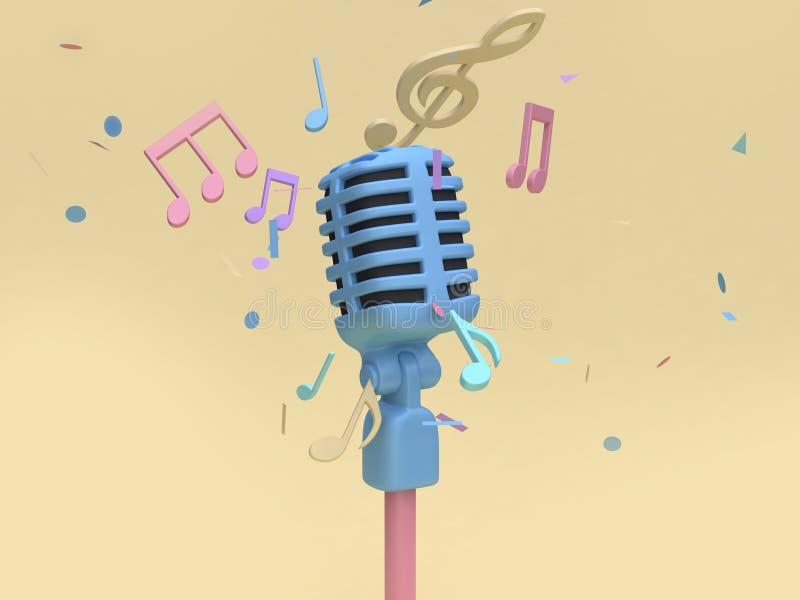 το τρισδιάστατο μπλε μικρόφωνο με πολλή σημείωση μουσικής, βασικό μαλακό κίτρινο ελάχιστο υπόβαθρο ύφους κινούμενων σχεδίων κολλο διανυσματική απεικόνιση