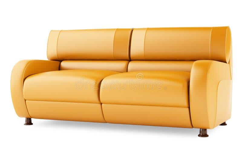 το τρισδιάστατο πορτοκάλι ανασκόπησης δίνει το λευκό καναπέδων στοκ εικόνες