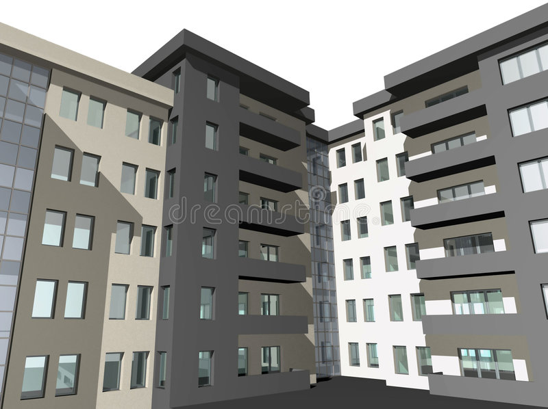το τρισδιάστατο σπίτι οικοδόμησης σύγχρονο δίνει απεικόνιση αποθεμάτων