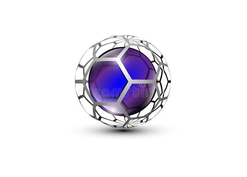 το τρισδιάστατο σχέδιο λογότυπων, αυτό το λογότυπο είναι κατάλληλο για τη σφαιρική επιχείρηση, τις παγκόσμιες τεχνολογίες, τα μέσ διανυσματική απεικόνιση