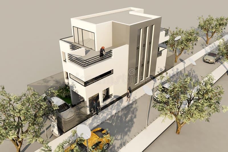 το τρισδιάστατο σύγχρονο σπίτι, δίνει 3ds σε ανώτατο, στο άσπρο backg διανυσματική απεικόνιση
