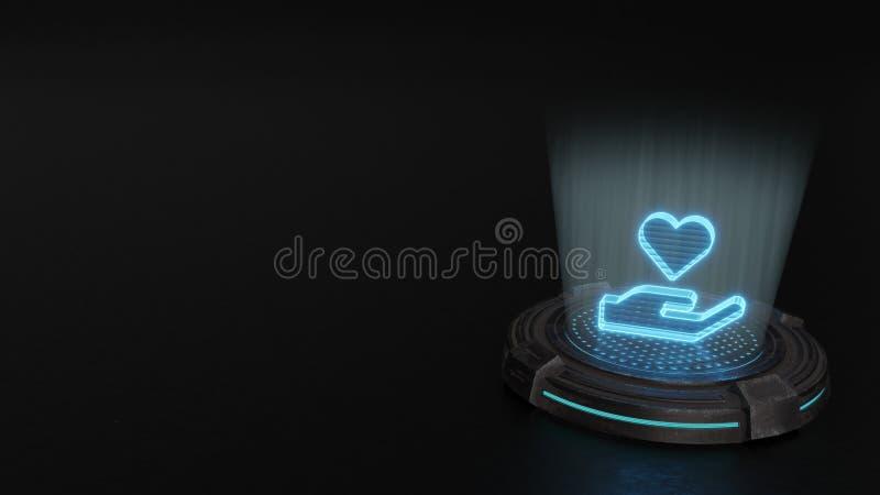 το τρισδιάστατο σύμβολο ολογραμμάτων του εικονιδίου καρδιών εκμετάλλευσης χεριών δίνει στοκ φωτογραφία