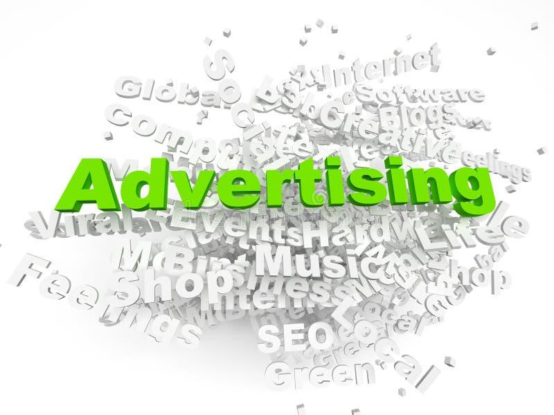 το τρισδιάστατο σύννεφο διαφήμισης δίνει τη λέξη ελεύθερη απεικόνιση δικαιώματος
