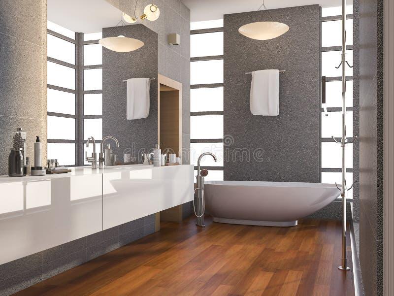 το τρισδιάστατο ξύλινο σύγχρονο λουτρό απόδοσης με το παράθυρο και η πέτρα κεραμώνουν τον τοίχο το καλοκαίρι απεικόνιση αποθεμάτων