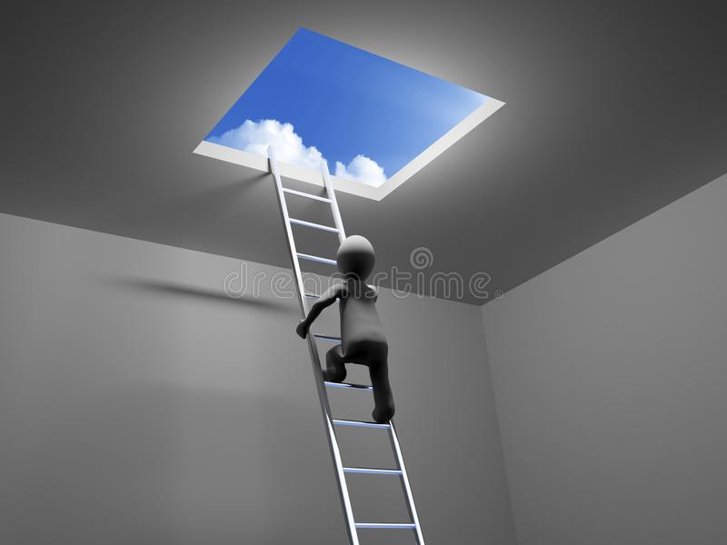 το τρισδιάστατο πρόσωπο αναρριχείται στη σκάλα στον ουρανό απεικόνιση αποθεμάτων