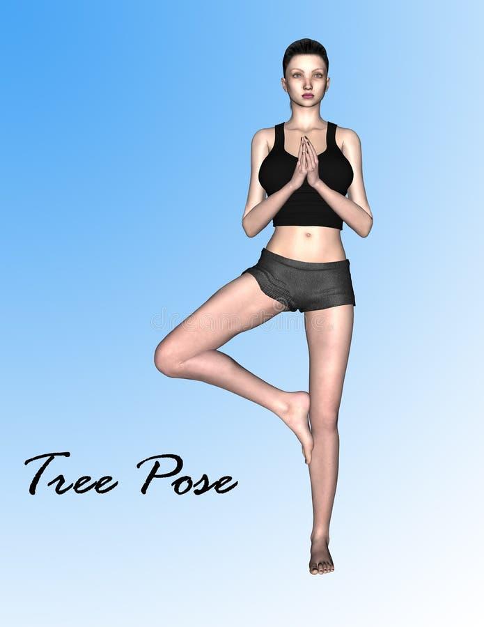 το τρισδιάστατο πρότυπο στη γιόγκα δέντρων θέτει στοκ φωτογραφία