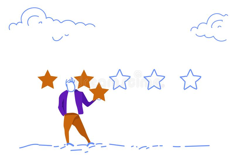 Το τριών αστέρων δόσιμο επιχειρηματιών εκτίμησης ανατροφοδοτεί την έννοια οριζόντιο σκίτσο doodle ελεύθερη απεικόνιση δικαιώματος