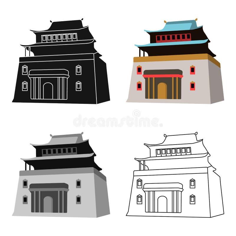 Το τριώροφο κτήριο στη Μογγολία Η μογγολική εθνική λάρνακα Mitarai Ενιαίο εικονίδιο της Μογγολίας στο διάνυσμα ύφους κινούμενων σ διανυσματική απεικόνιση