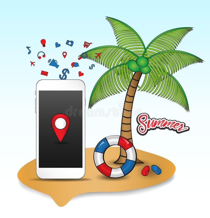 Το τροπικό νησί με τα εικονίδια smartphone, δέντρα καρύδων, κολυμπά τα δαχτυλίδια, διανυσματική απεικόνιση δικράνων κοινωνικά μέσ διανυσματική απεικόνιση