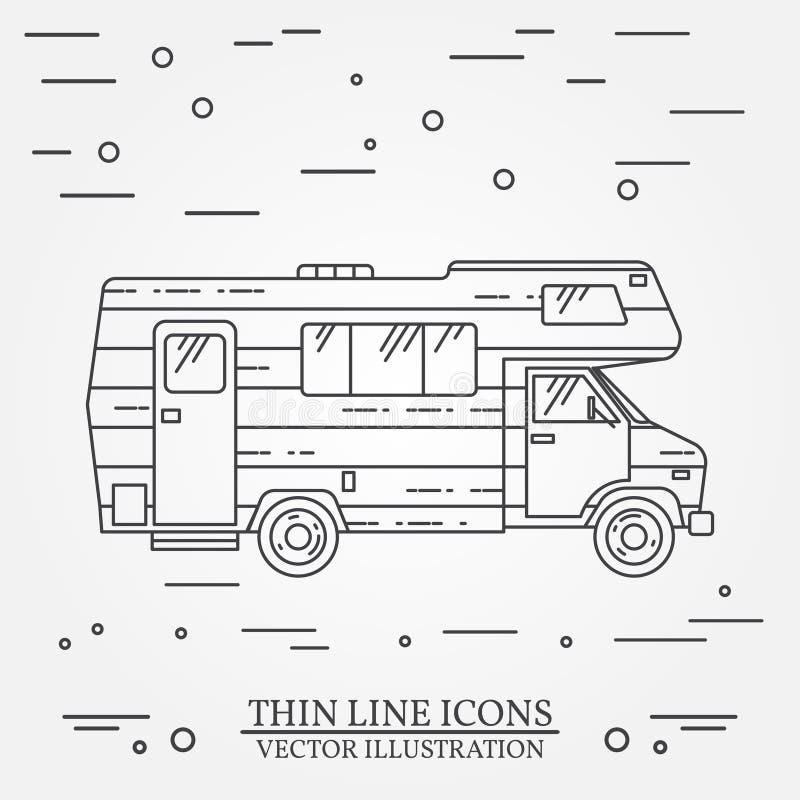 Το τροχόσπιτο ταξιδιωτικών φορτηγών λεπταίνει τη γραμμή Εικονίδιο περιλήψεων οικογενειακών τροχόσπιτων ρυμουλκών στρατοπέδευσης r διανυσματική απεικόνιση