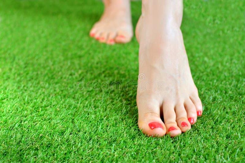 Το τρυφερό θηλυκό πληρώνει σε ένα πράσινο τεχνητό πάτωμα τύρφης στοκ εικόνες