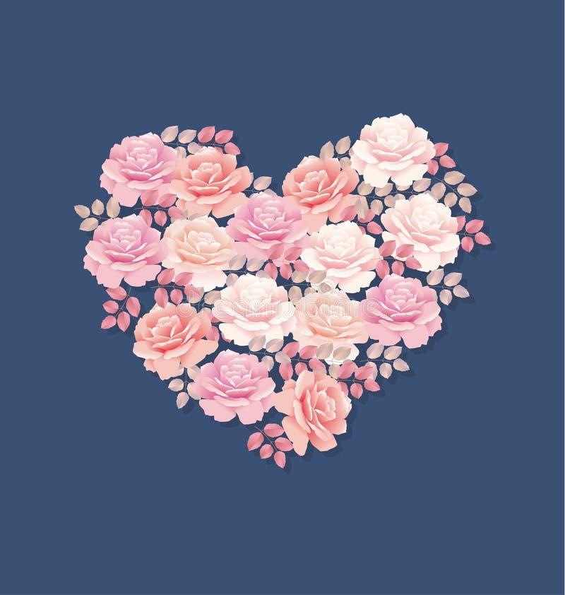Το τρυφερό ροζ χρώματος αυξήθηκε ανθοδέσμη στη μορφή καρδιών απεικόνιση αποθεμάτων