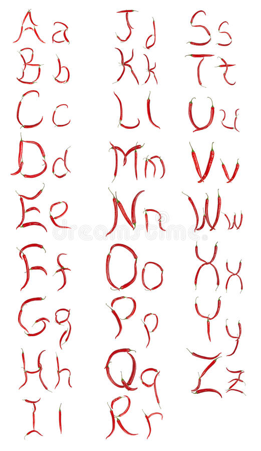 το τσίλι αγγλικά αλφάβητ&omicr στοκ εικόνα