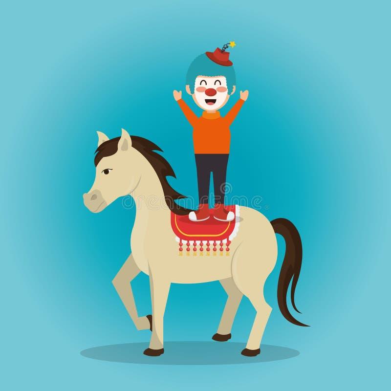 Το τσίρκο αλόγων και κλόουν παρουσιάζει ελεύθερη απεικόνιση δικαιώματος
