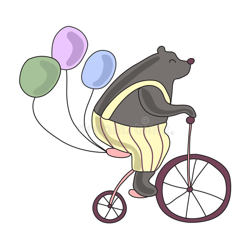 Το τσίρκο αντέχει ένα ποδήλατο με τα μπαλόνια Διανυσματική απεικόνιση, που απομονώνεται στο άσπρο υπόβαθρο διανυσματική απεικόνιση