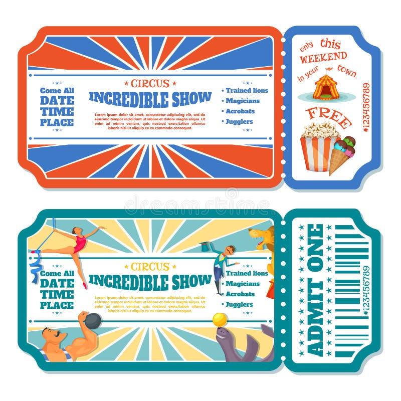 Το τσίρκο μαγικό παρουσιάζει πρότυπα εισιτηρίων εισόδων επίσης corel σύρετε το διάνυσμα απεικόνισης διανυσματική απεικόνιση