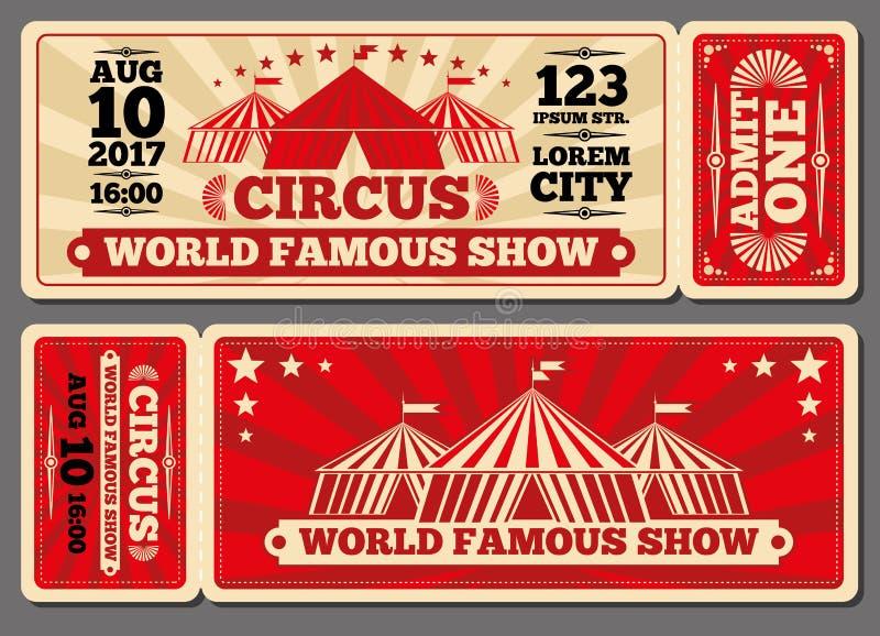 Το τσίρκο μαγικό παρουσιάζει στην είσοδο διανυσματικά πρότυπα εισιτηρίων απεικόνιση αποθεμάτων
