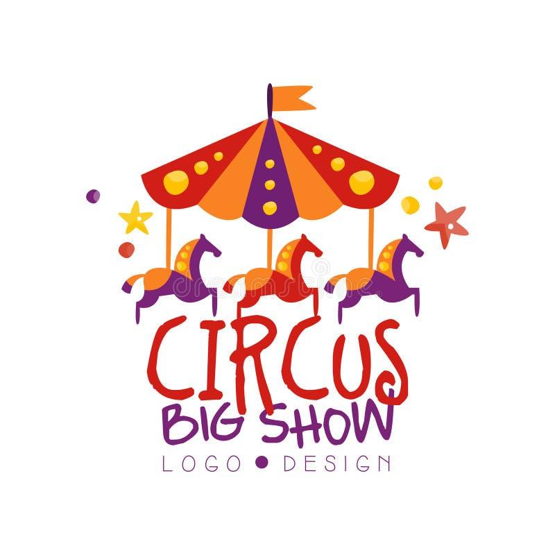 Το τσίρκο μεγάλο παρουσιάζει σχέδιο λογότυπων, καρναβάλι, εορταστικό, παρουσιάζει ετικέτα, διακριτικό, το στοιχείο σχεδίου με το  ελεύθερη απεικόνιση δικαιώματος