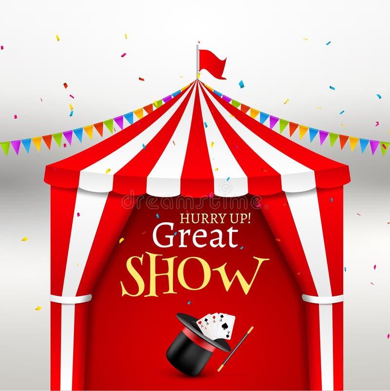 Το τσίρκο παρουσιάζει αφίσα γεγονότος Διανυσματική απεικόνιση σκηνών τσίρκων για τη διασκέδαση καρναβαλιού με τη σημαία Σκηνή χώρ απεικόνιση αποθεμάτων