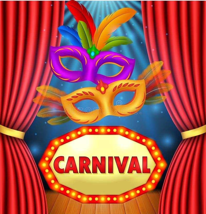 Το τσίρκο παρουσιάζει με τον πίνακα καρναβάλι σημαδιών, τη μάσκα καρναβάλι και το ελαφρύ πλαίσιο διανυσματική απεικόνιση