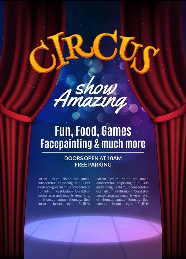 Το τσίρκο παρουσιάζει πρότυπο αφισών με το σημάδι Εορταστική πρόσκληση τσίρκων Διανυσματικό καρναβάλι παρουσιάζει απεικόνιση υποβ ελεύθερη απεικόνιση δικαιώματος