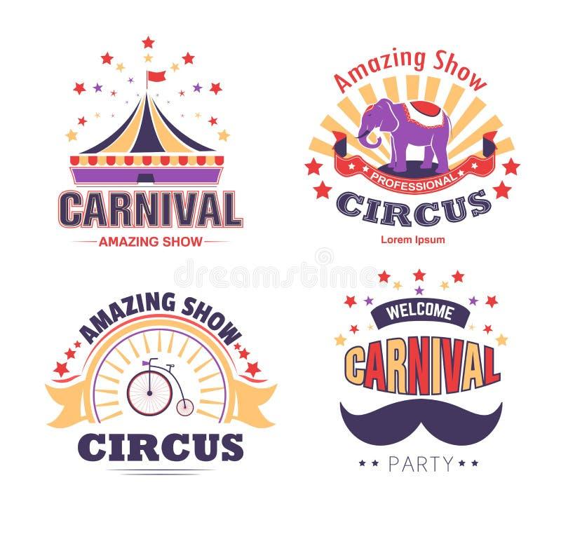 Το τσίρκο παρουσιάζουν και απομονωμένοι σκηνή και ο ελέφαντας εικονιδίων καρναβαλιού η κόμμα ελεύθερη απεικόνιση δικαιώματος