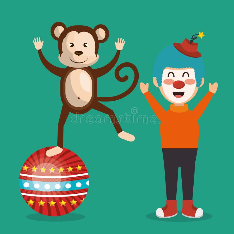 Το τσίρκο πιθήκων και κλόουν παρουσιάζει ελεύθερη απεικόνιση δικαιώματος